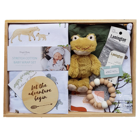 Room to Bloom Wild Things Baby Gift - Wooden Box Hamper