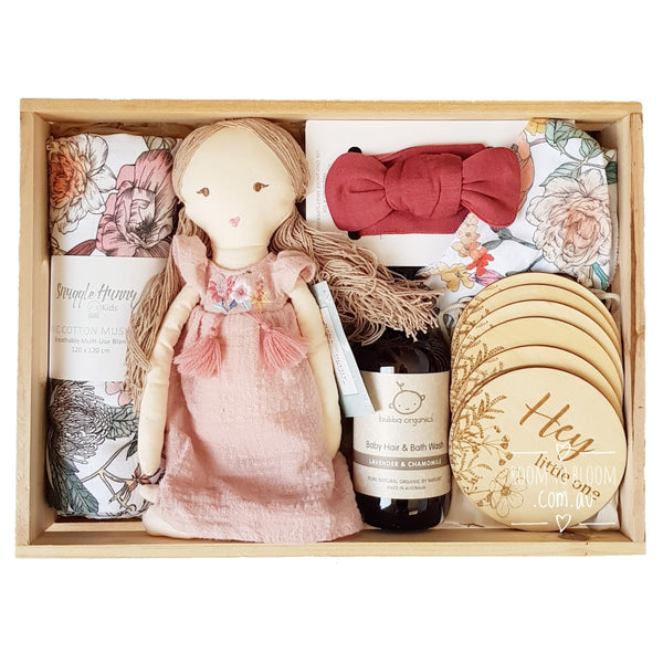 Room to Bloom Wildflower Baby Gift - Wooden Box Hamper