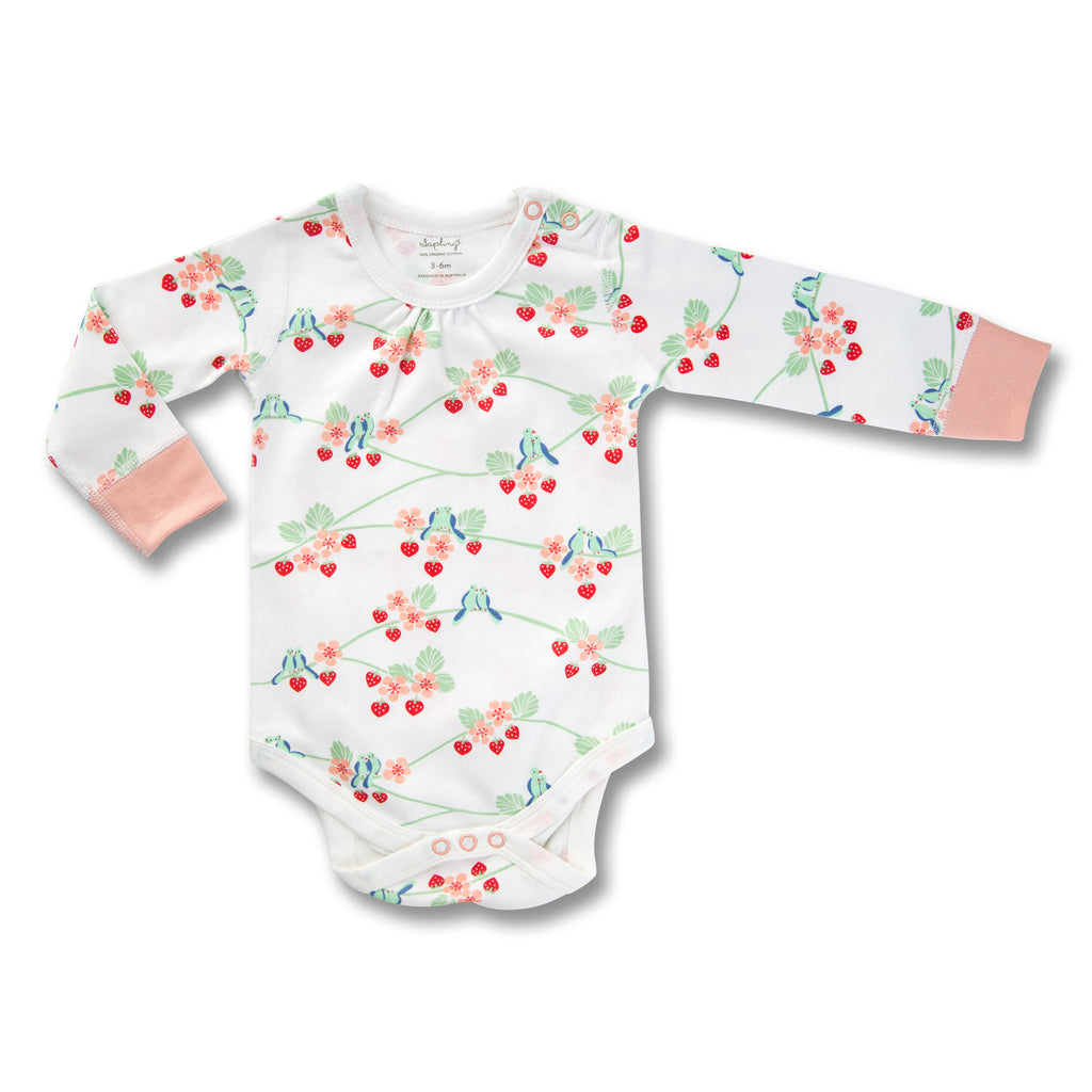 Sapling Flight Collection Long Sleeve Bodysuit - Bluebirds front