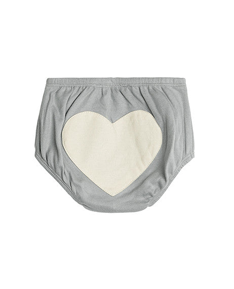 Sapling Dove Grey Heart Baby Bloomer Back
