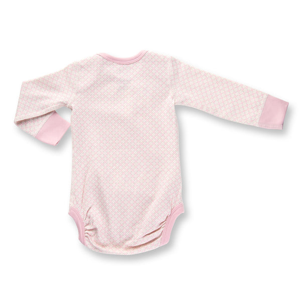 Sapling Dusty Pink Long Sleeve Baby Bodysuit back