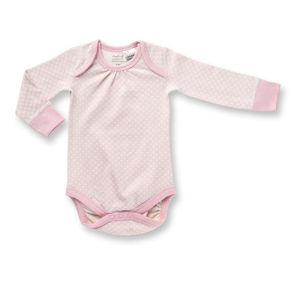 Sapling Dusty Pink Long Sleeve Baby Bodysuit front