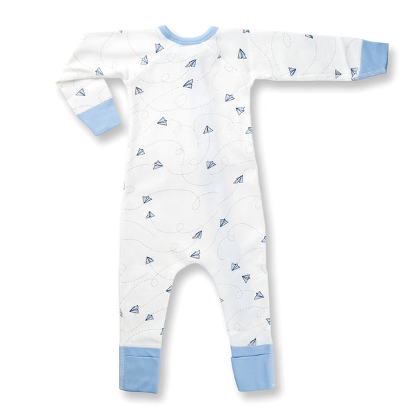 Sapling Flight Collection Zip Romper - Paper Planes back