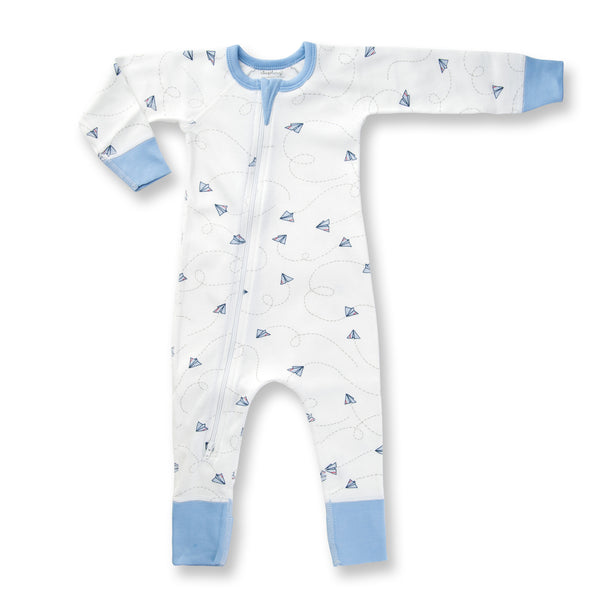 Sapling Flight Collection Zip Romper - Paper Planes front