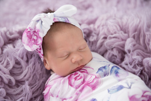 Snuggle Hunny Kids Jersey Wrap & Topknot set - Lilac Skies