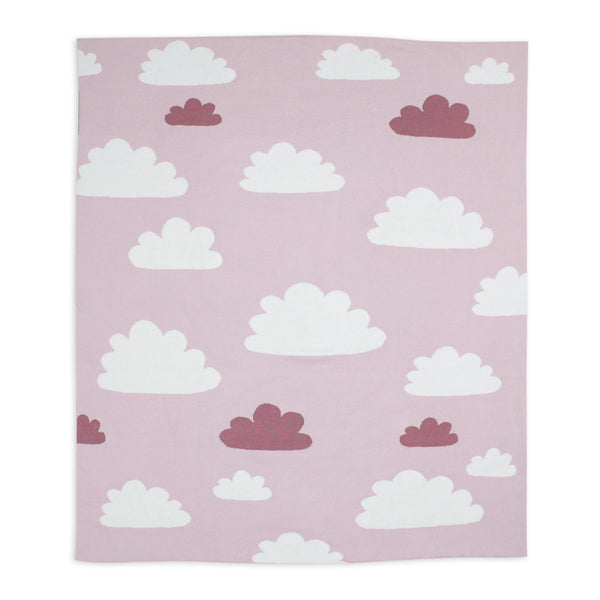 Weegoamigo Cotton Knitted Blanket - Sky High Pink flat