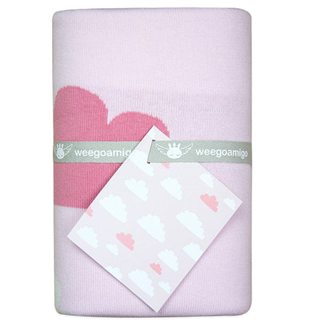 Weegoamigo Cotton Knitted Blanket - Sky High Pink