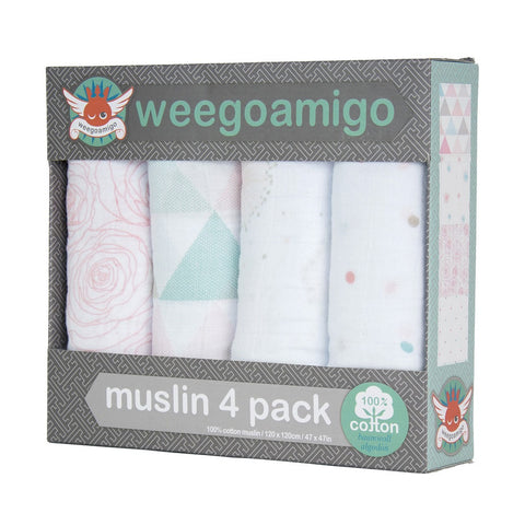 Weegoamigo Muslin 4 Pack - Bloom