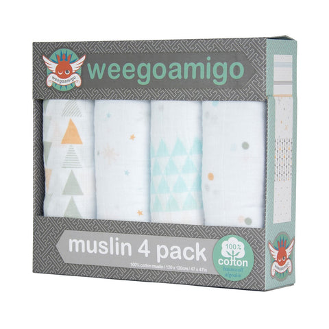 Weegoamigo Muslin 4 Pack - This Way