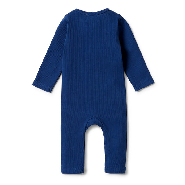 Organic Rib Henley Growsuit - Navy Peony back