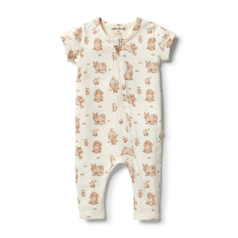 Wilson & Frenchy Organic Short Sleeve Little Hop Zipsuit front