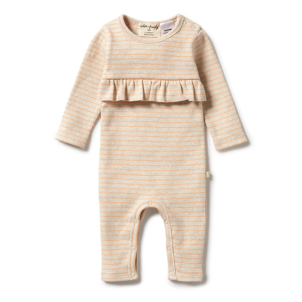 Wilson & Frenchy Organic Stripe Rib Ruffle Growsuit - Apricot front