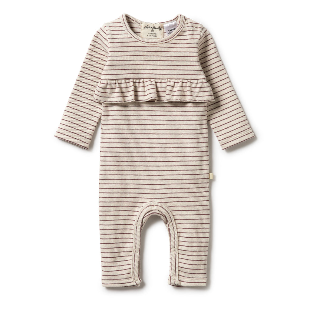 Wilson & Frenchy Organic Stripe Rib Ruffle Growsuit - Wild Ginger front
