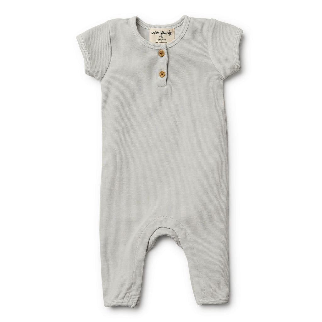 Wilson and Frenchy Glacier Grey Growsuit front
