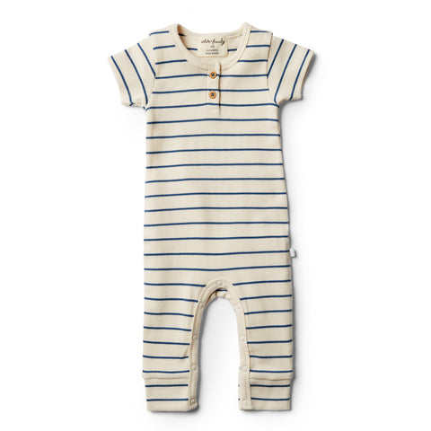 Wilson and Frenchy Organic Deep Blue Stripe Growsuit