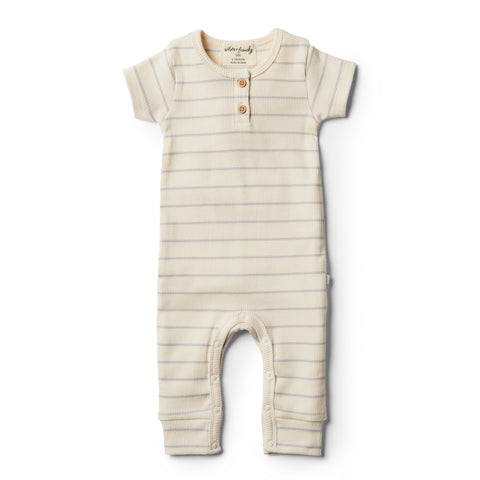 Wilson and Frenchy Organic Glacier Grey Stripe Growsuit