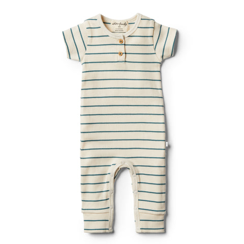 Wilson and Frenchy Organic Jungle Green Stripe Growsuit
