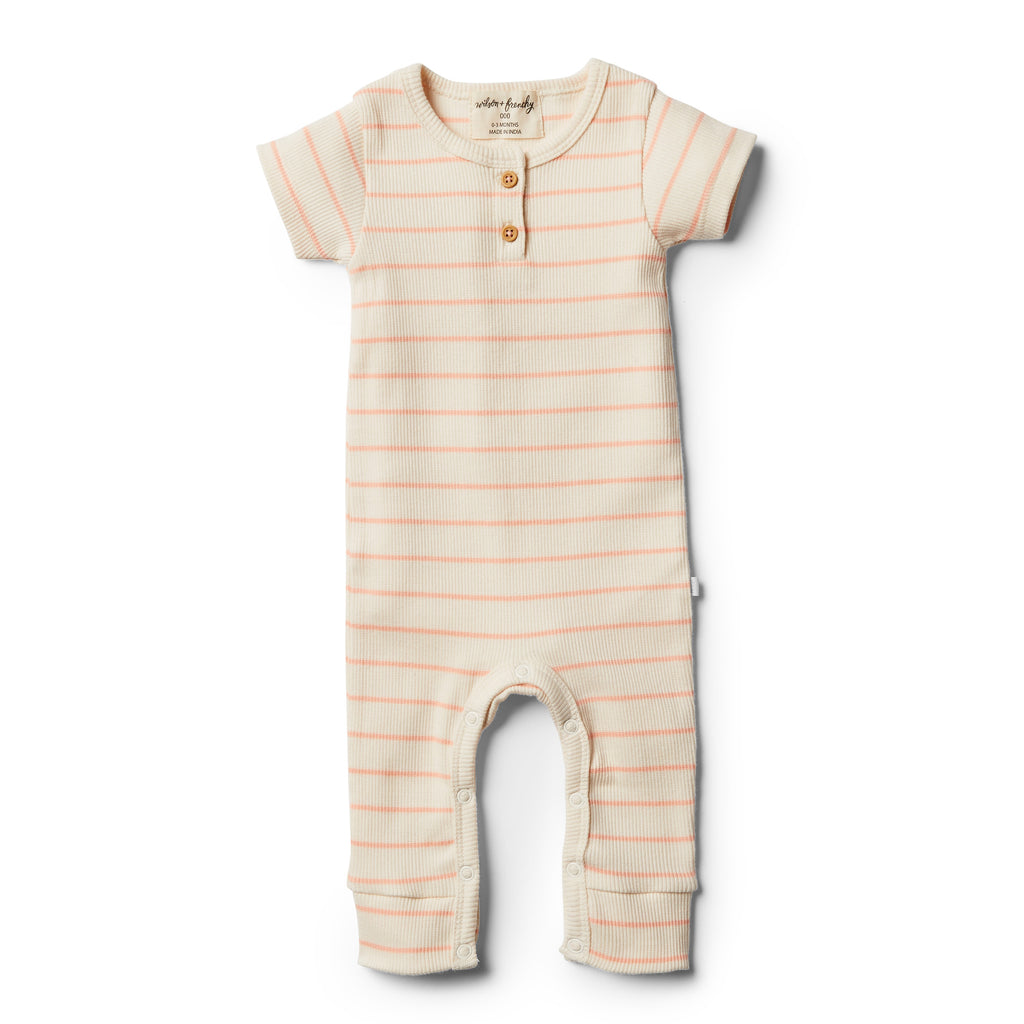 Wilson and Frenchy Organic Peach Pearl Stripe Growsuit