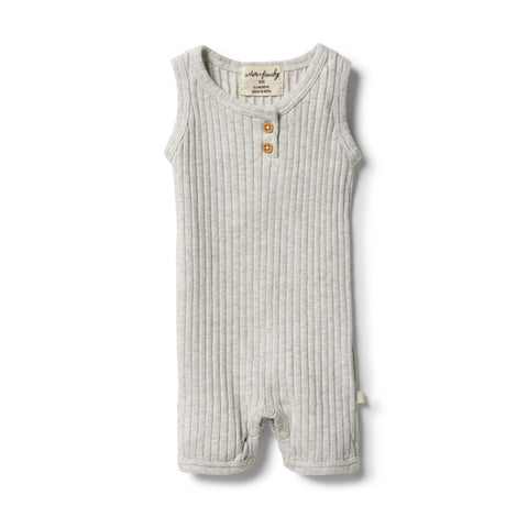 Wilson & Frenchy Organic Rib Growsuit - Grey Marle front