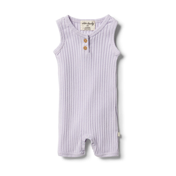 Wilson & Frenchy Organic Rib Growsuit - Lavender front