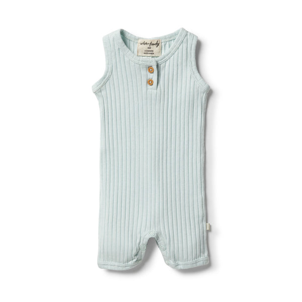 Wilson & Frenchy Organic Rib Growsuit - Morning Mist front