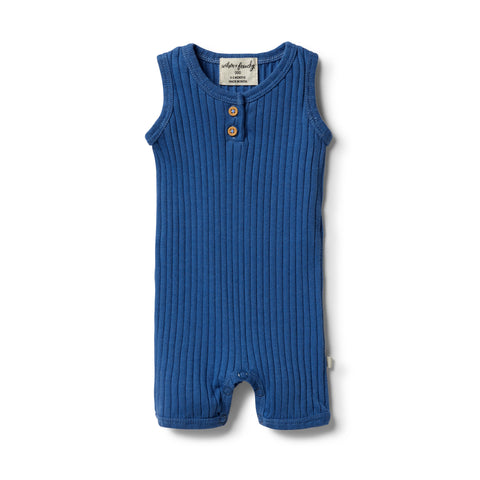 Wilson & Frenchy Organic Rib Growsuit - Sapphire front