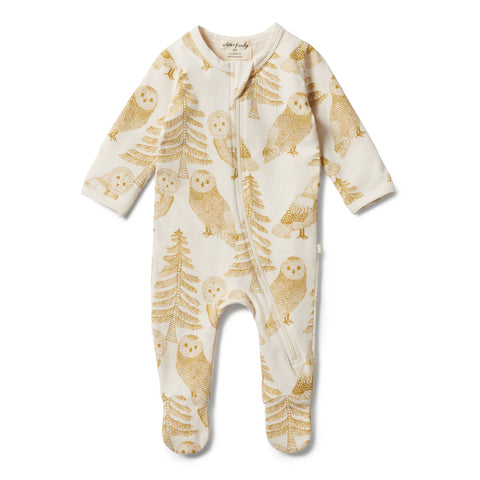 Wilson & Frenchy Organic Zipsuit - Owlly front