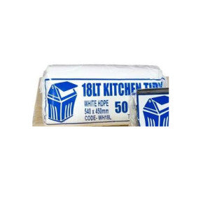 18L Kitchen Tidy bag White roll 50 (single)