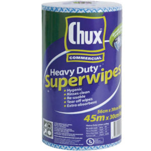 Chux Heavy Duty Cloth Rolls Blue Perforated 45mx30cm