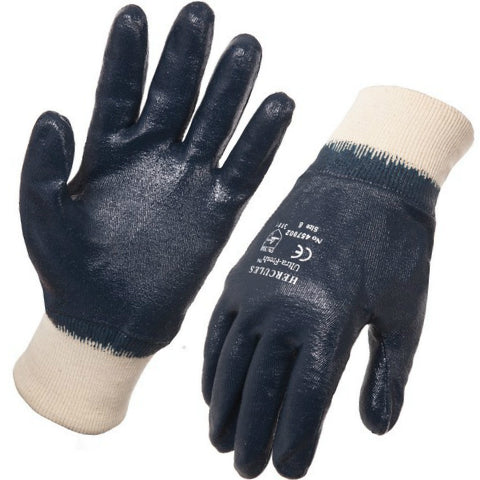 Blue Nitrile Glove Knit Wrist