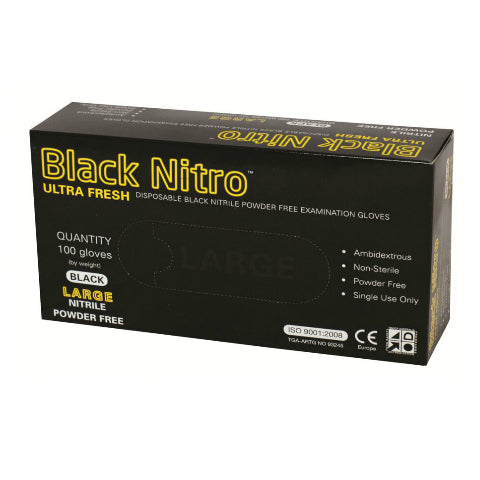 Black Nitrile Gloves Powder Free large Pkt 100