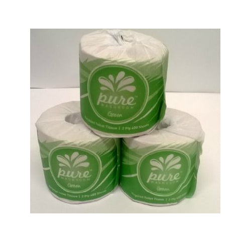 PURE GREEN RECYCLED 2 PLY 400 SHEET TOILET ROLLS CARTON 48
