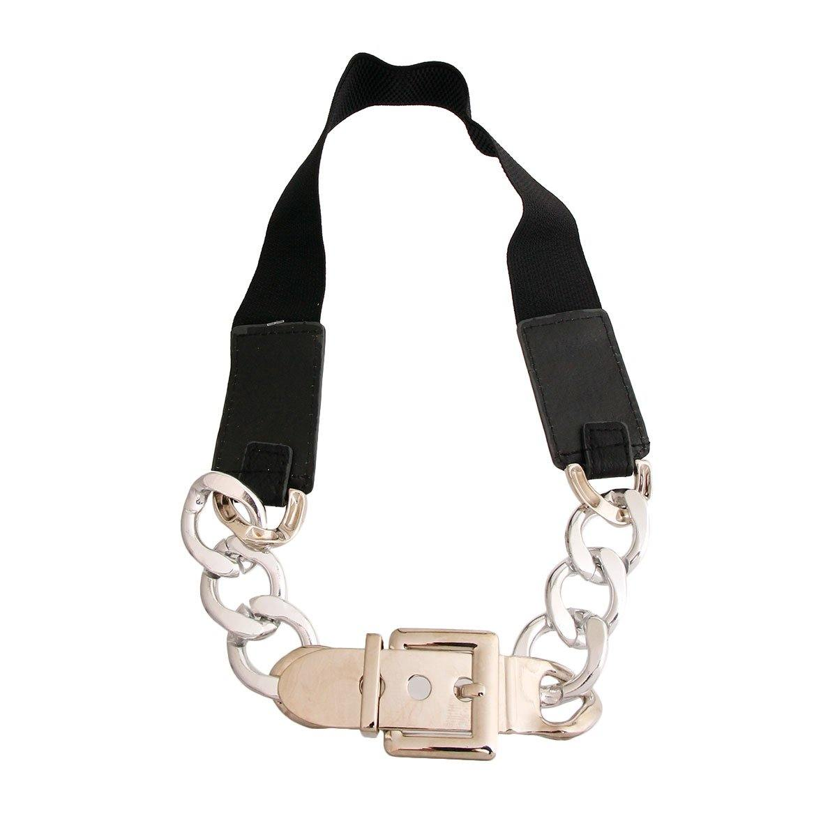 Silver Chain Black Stretch Belt