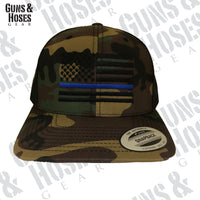 USA Thin Blue Line Camo Snapback