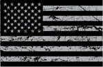 Gray Distressed USA Flag Sticker Decal
