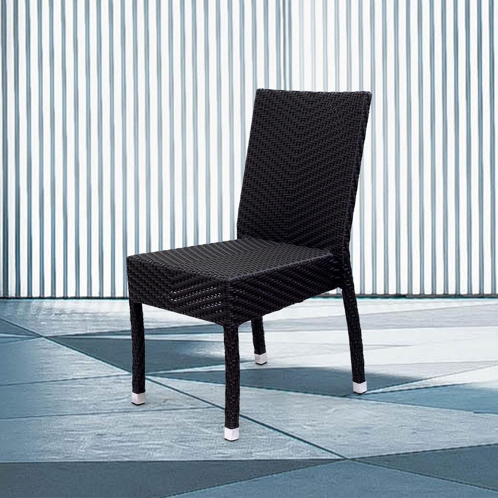Lyon Stacking Patio Dining Chair #color_Black