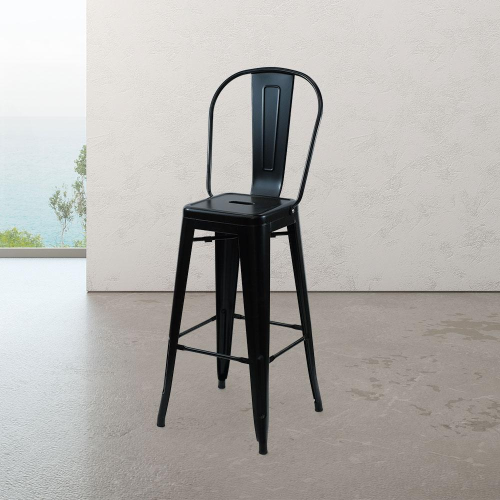 Marais A Cafe Bar Stool with High Back #color_Black