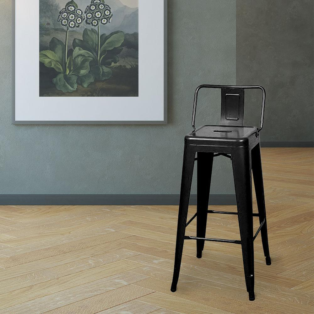 Marais A Bar Stool with Low Back #color_Black