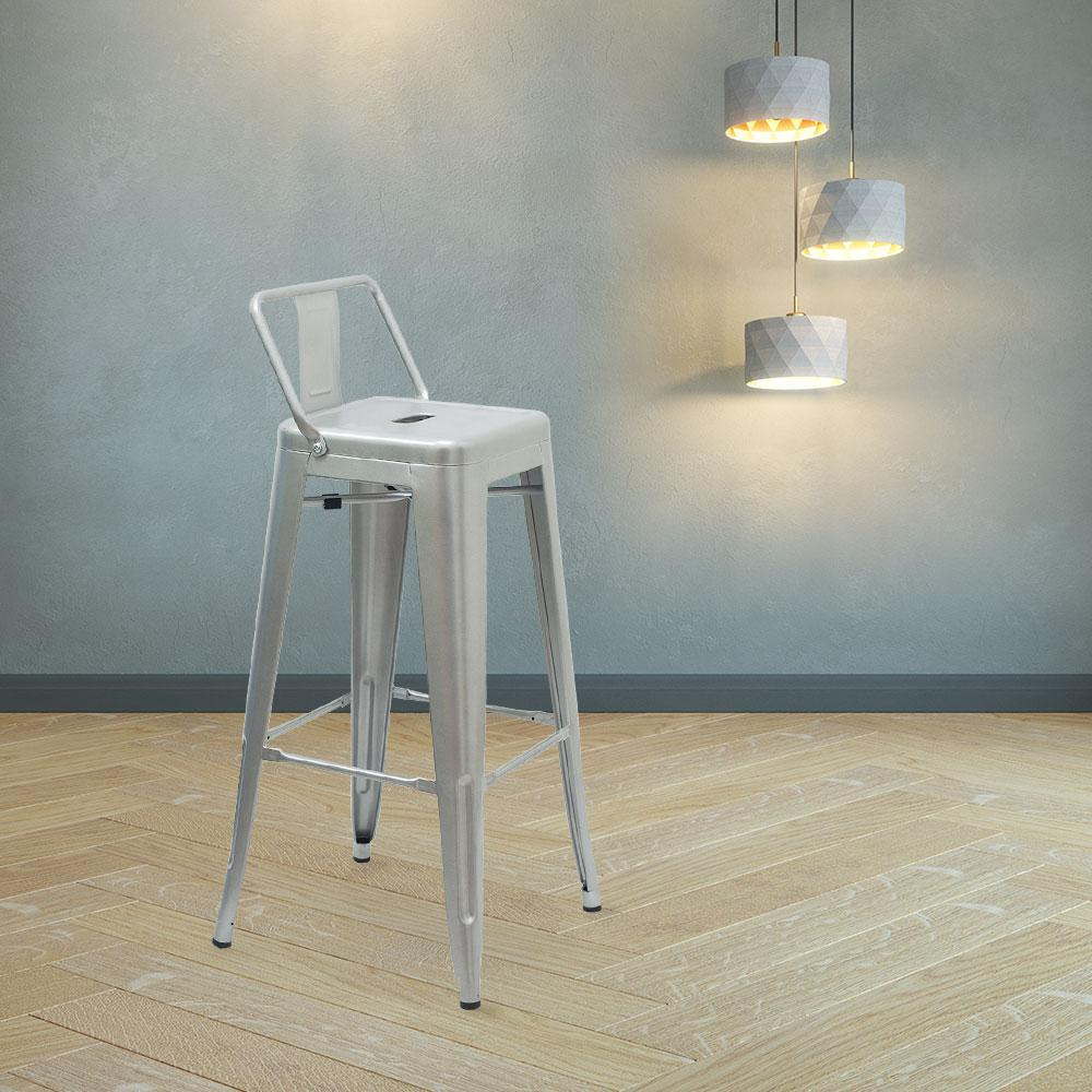Marais A Bar Stool with Low Back #color_Flash Silver