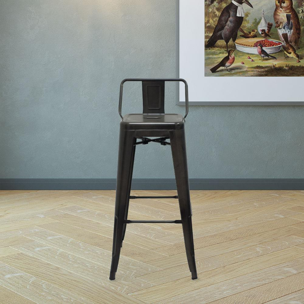Marais A Bar Stool with Low Back #color_Gunmetal