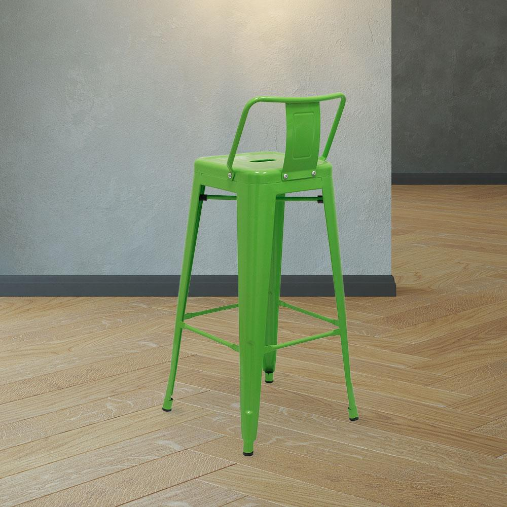 Marais A Bar Stool with Low Back #color_Green