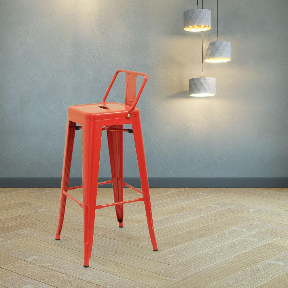 Marais A Bar Stool with Low Back #color_Red