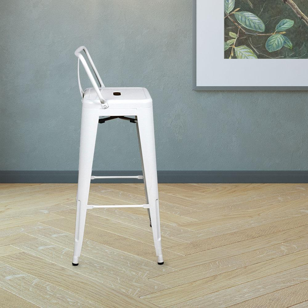 Marais A Bar Stool with Low Back #color_White