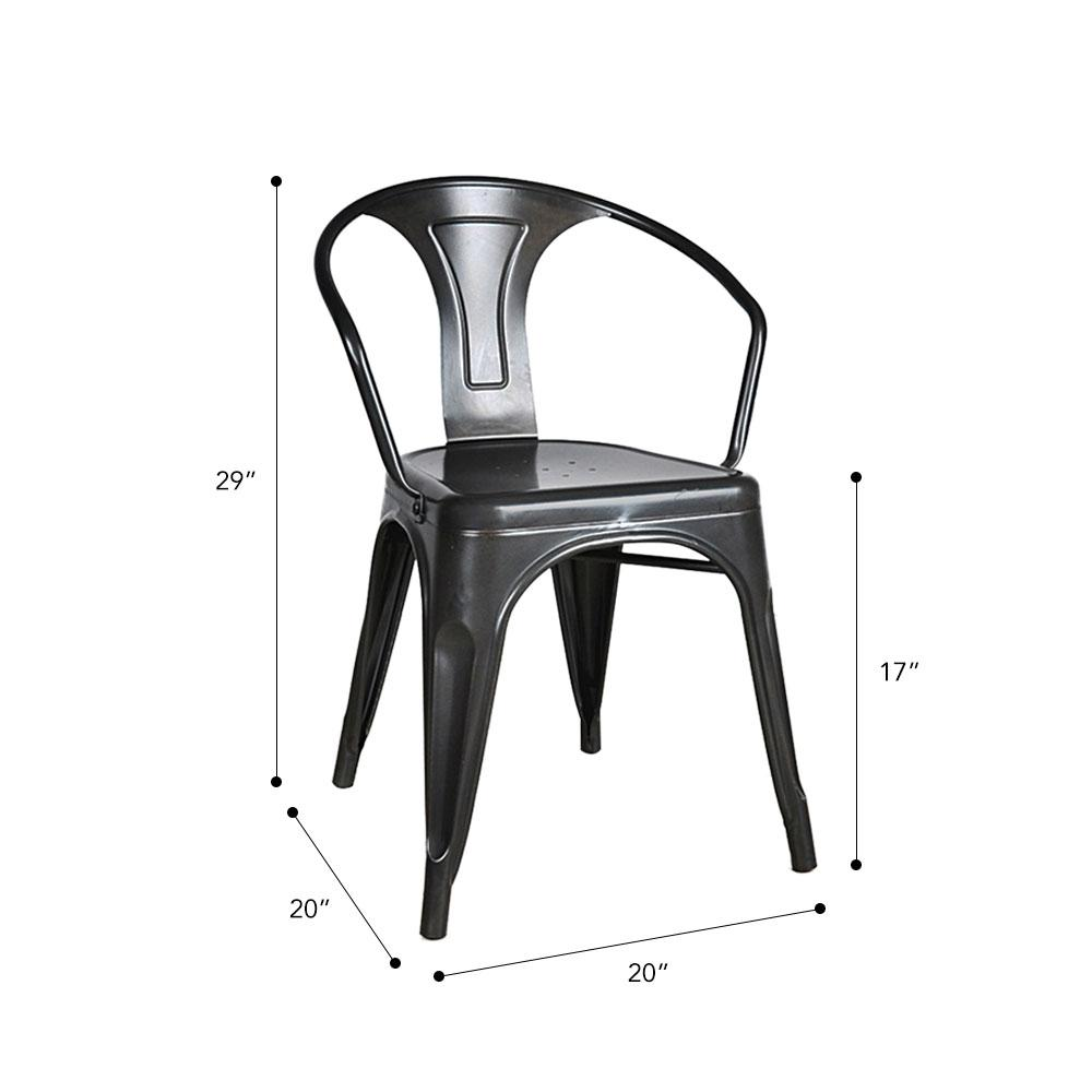 Marais A Arm Chair with Metal Seat #color_Black
