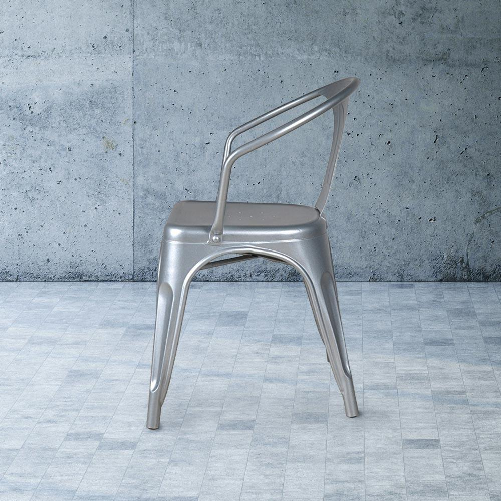 Heritage Industrial Metal Arm Chair with Slat Back #color_Flash Silver