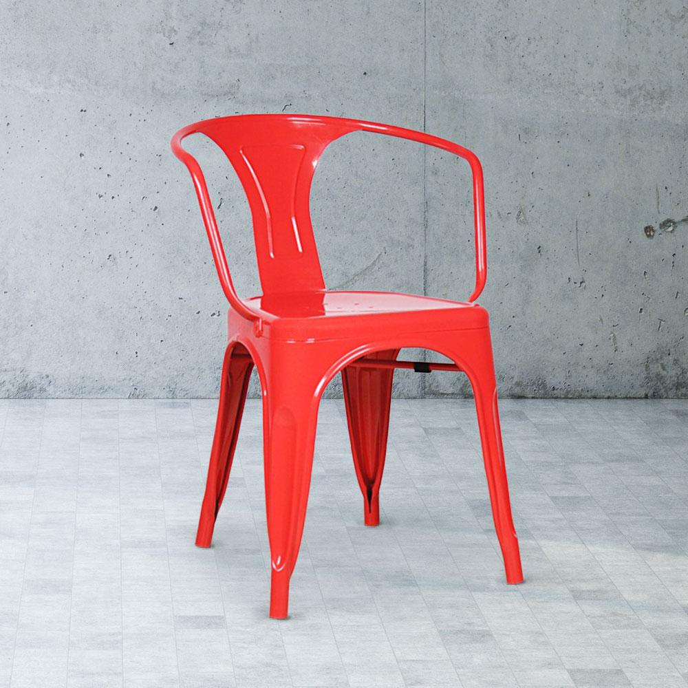Marais A Arm Chair with Metal Seat #color_Red