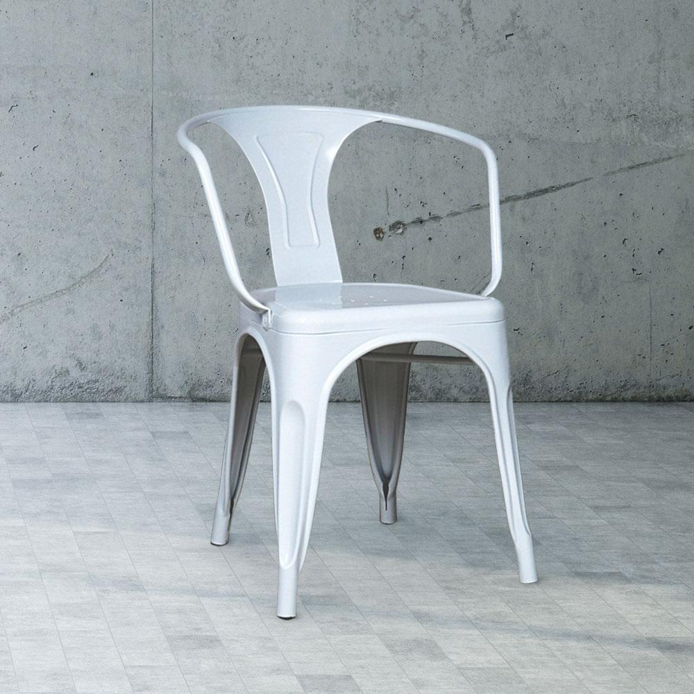 Marais A Arm Chair with Metal Seat #color_White
