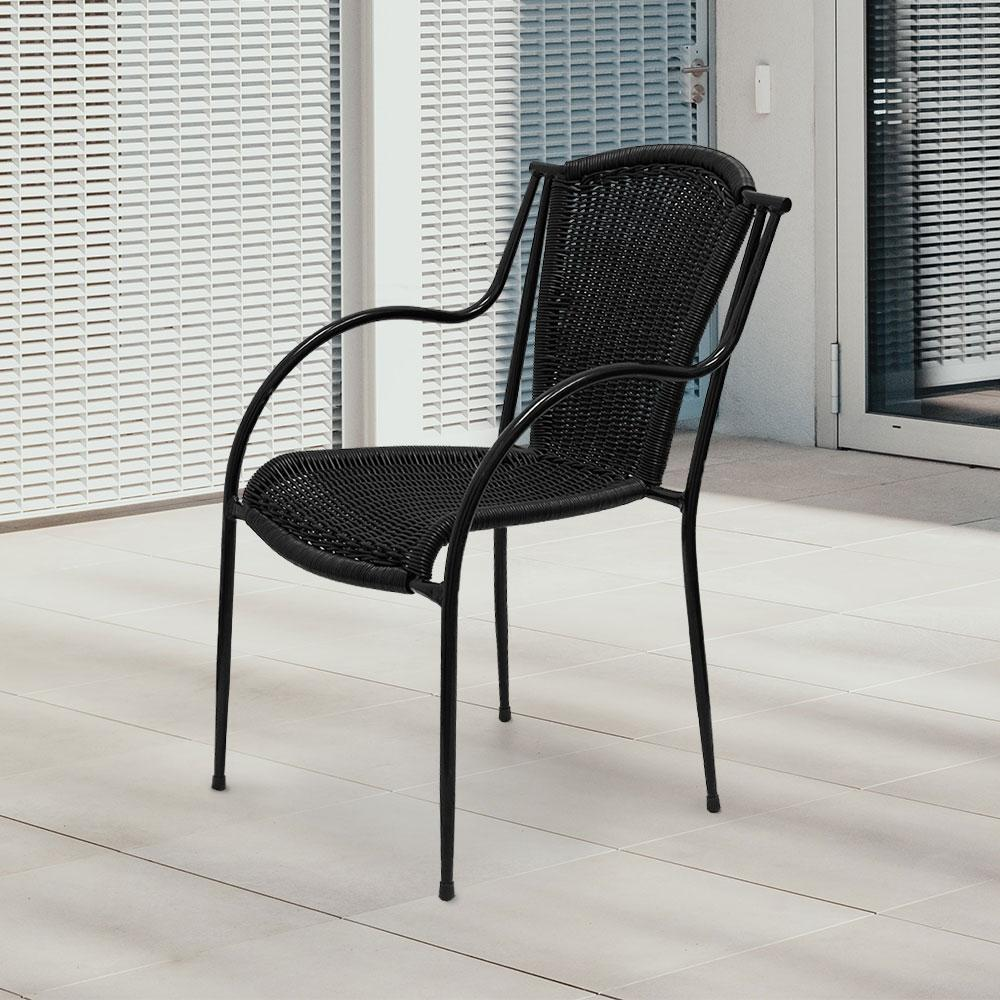 Stacking Patio Dining Arm Chair #color_Black