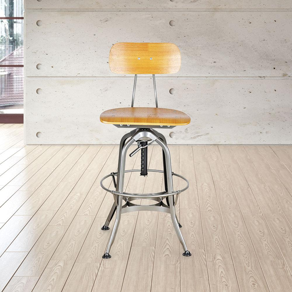 Toledo Swivel Adjustable Height Bar Stool #color_Chrome/Brown