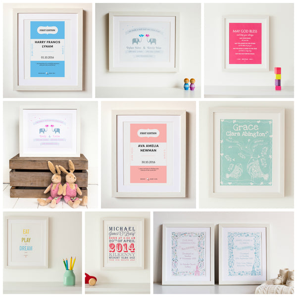 Our blog personalised baby gift print collection from papier prints dublin ireland negle